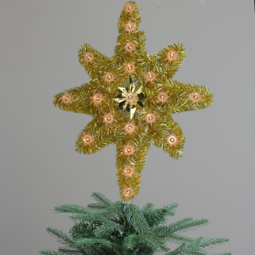 21 Oversized Lighted Gold Tinsel Star Of Bethlehem Christmas Tree Topper Clear Lights 31576676