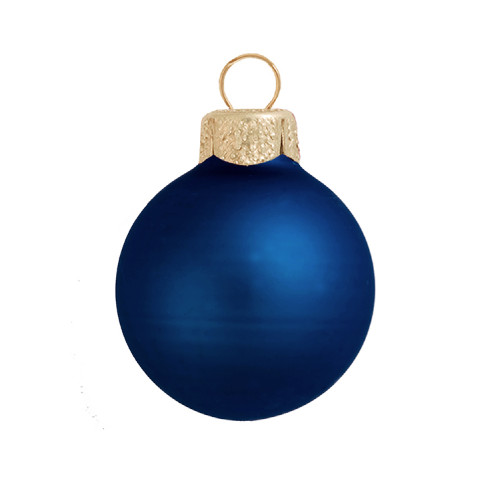 "Matte Midnight Blue Glass Ball Christmas Ornament 7"" (180mm) - IMAGE 1"