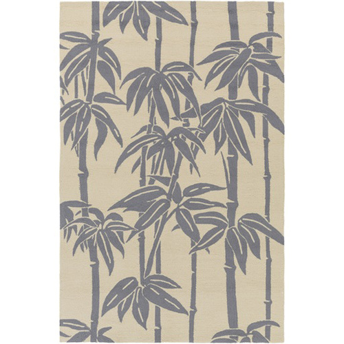8' x 10' Gray and Beige Bamboo Hand Hooked Outdoor Area Throw Rug - IMAGE 1
