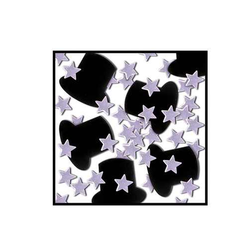 Club Pack of 12 Black and Silver Fanci-Fetti Awards Night Celebration Confetti Bags 1 Oz - IMAGE 1