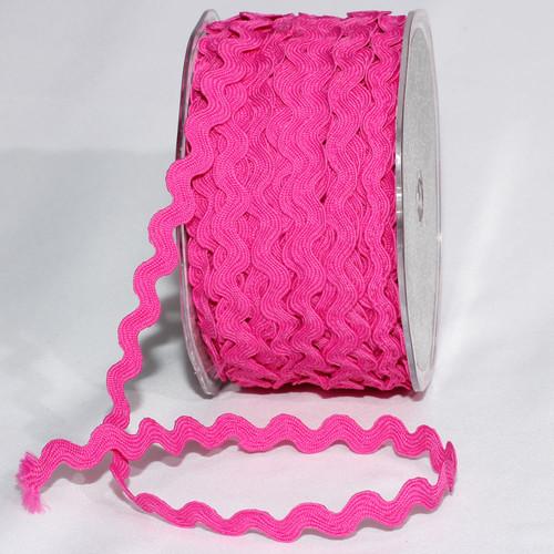 "Fuchsia Pink Woven Edge Ric Rac Craft Ribbon 0.25"" x 55 Yards - IMAGE 1"