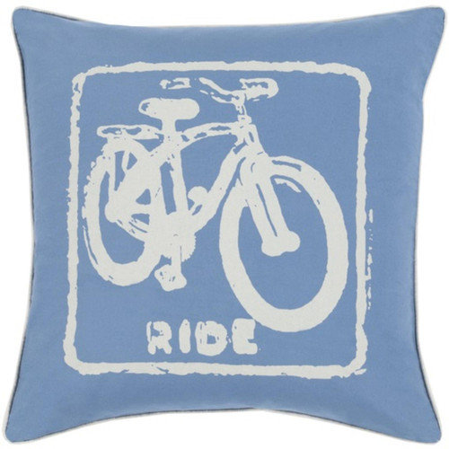 """22"""" Blue and Ivory Relaxing Ride Decorative Throw Pillow - Down Filler - IMAGE 1"""