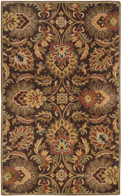 6' x 9' Brown and Ivory Contemporary Hand Tufted Floral Rectangular Wool Area Throw Rug - IMAGE 1