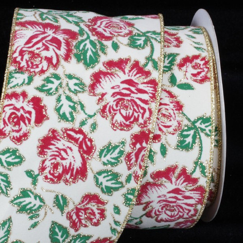 "Ivory and Red Rose Wired Craft Ribbon 4"" x 20 Yards - IMAGE 1"