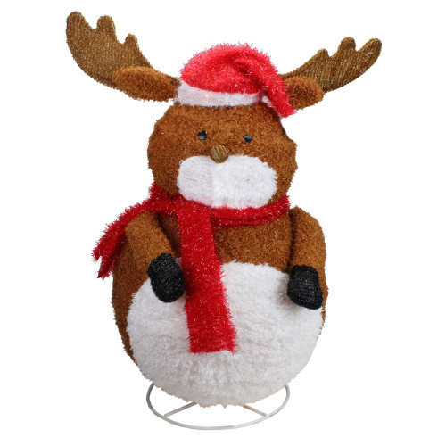 """24"""" Pre-Lit White and Brown 3D Chenille Reindeer Outdoor Christmas Yard Decor - IMAGE 1"""