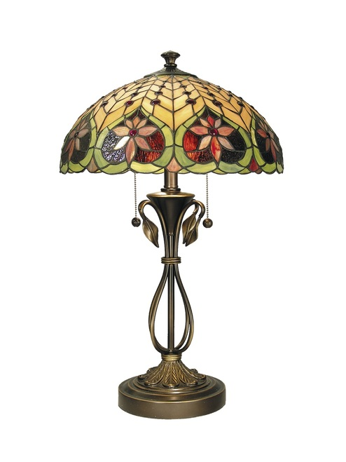 """26.75"""" Red, Yellow and Green Antique Brass Floral Leilani Hand Rolled Art Glass Table Lamp - IMAGE 1"""