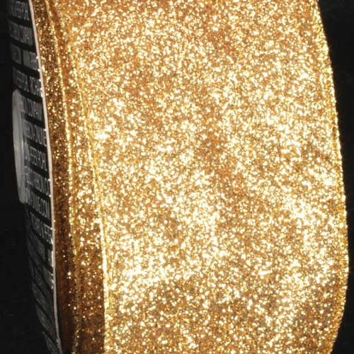 """Sparkling Gold Glitter Wired Craft Ribbon 3"""" x 40 Yards - IMAGE 1"""