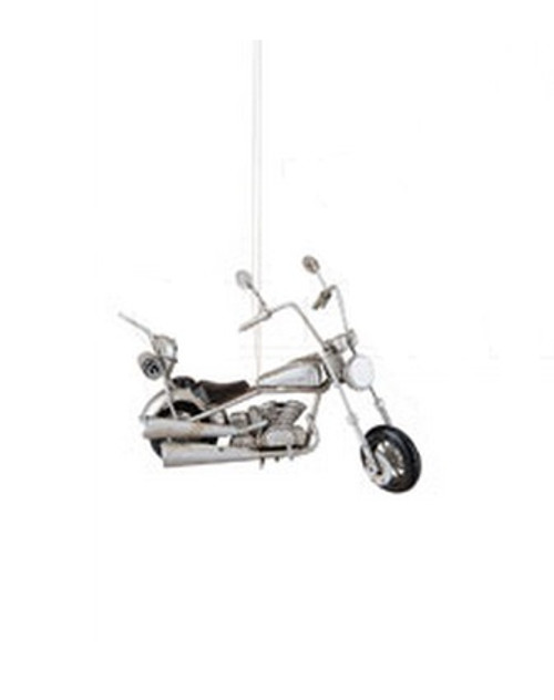 """4.75"""" Decorative Silver and Black Chopper Motorcycle Christmas Ornament - IMAGE 1"""
