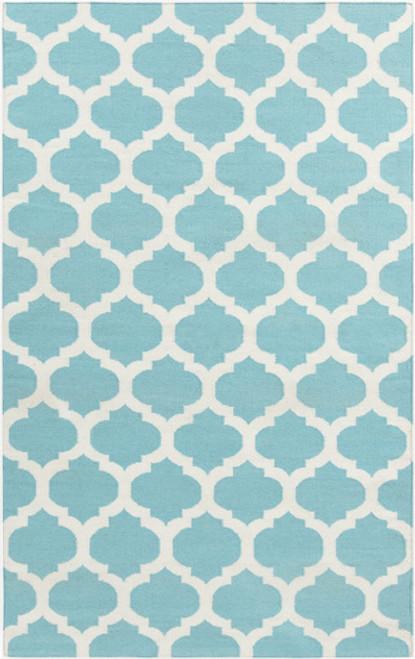 2' x 3' Aqua Blue and Ivory Hand Woven Rectangular Wool Area Throw Rug - IMAGE 1