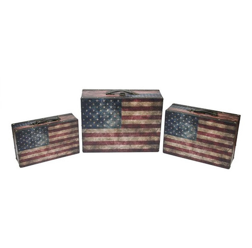 """Set of 3 Rustic American Flag Decorative Wooden Storage Boxes 16"""" - IMAGE 1"""