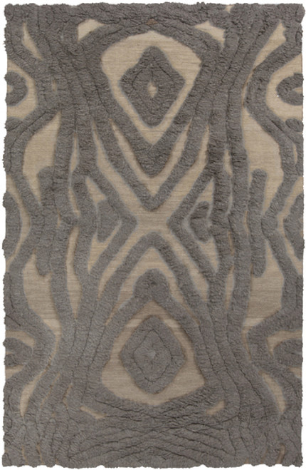 3.5' x 5.5' Tribal Hourglass Gray and Beige Hand Woven Rectangular Wool Area Throw Rug - IMAGE 1