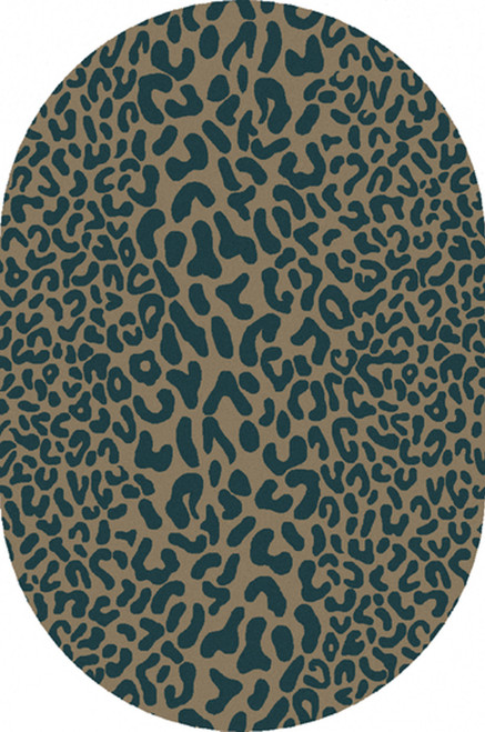 6' x 9' Green and Tan Contemporary Cheetah Hand Tufted Oval Wool Area Throw Rug - IMAGE 1
