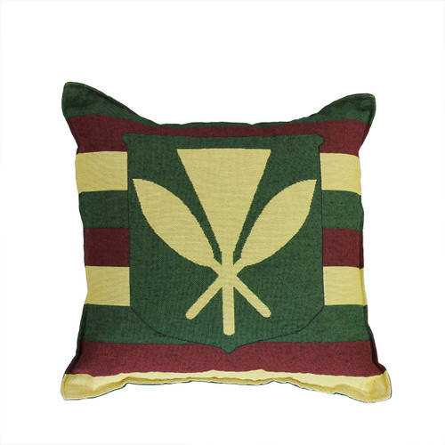 """17"""" Green and Yellow Hawaiian Coat of Arms Square Throw Pillow - IMAGE 1"""