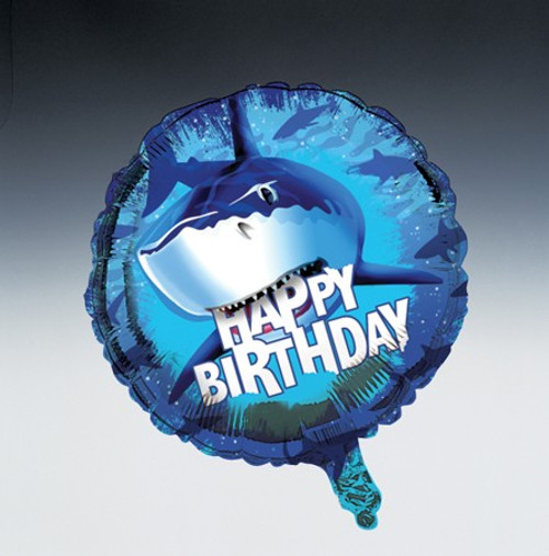 "Club Pack of 12 Blue Shark Splash Happy Birthday Metallic Party Balloons 18"" - IMAGE 1"