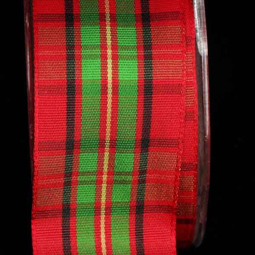 """Red and Green Woven Narrow Plaid Wired Craft Ribbon 1.5"""" x 22 Yards - IMAGE 1"""