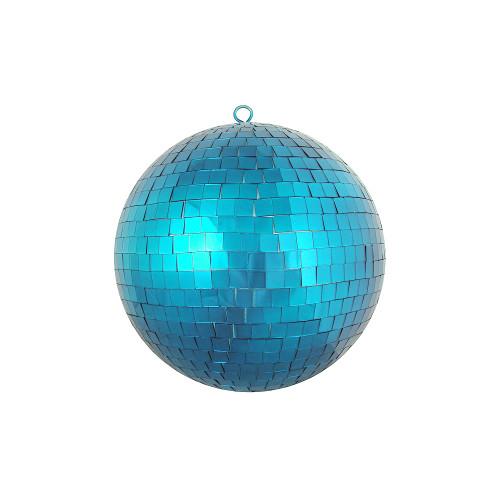 "Peacock Blue Mirrored Glass Disco Ball Christmas Ornament 8"" (200mm) - IMAGE 1"