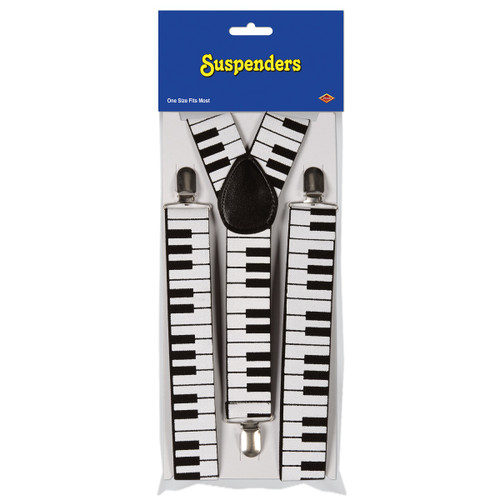 Club Pack of 12 Black and White Adult Unisex Keyboard Suspender Costume Accessories - One Size - IMAGE 1