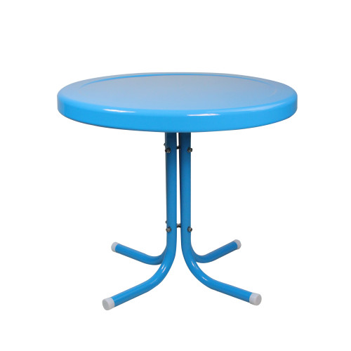 """21.75"""" Turquoise Blue Retro Outdoor Patio Side Table - IMAGE 1"""