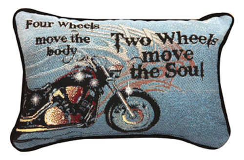"12.5"" Blue and Black Motorcycle Rectangular Throw Pillow - IMAGE 1"
