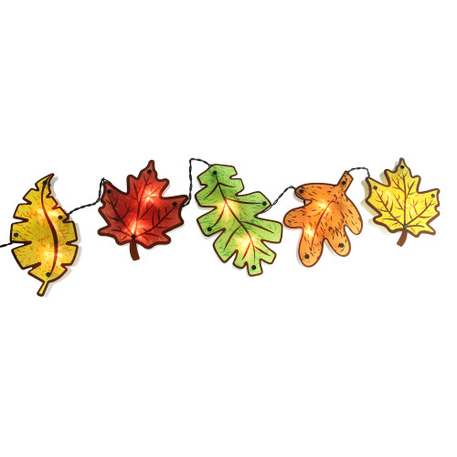 """49"""" Lighted Leaves Garland Thanksgiving Window Silhouette Decor - IMAGE 1"""