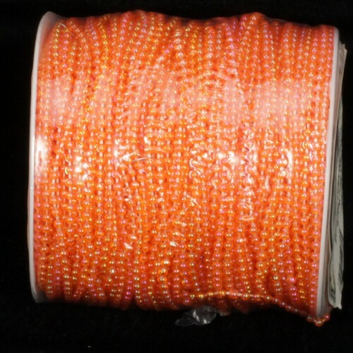 "Orange Contemporary Faux Mini Pearls Craft Ribbon 0.25"" x 100 Yards - IMAGE 1"