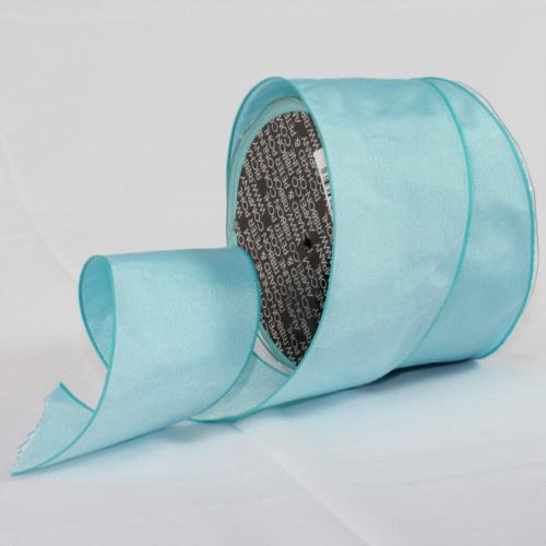 """Turquoise Blue Solid Wired Craft Ribbon 2.5"""" x 27 Yards - IMAGE 1"""