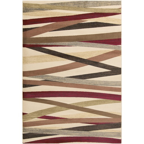 6.5' x 9.5' Contemporary Brown and Beige Shed-Free Rectangular Area Throw Rug - IMAGE 1