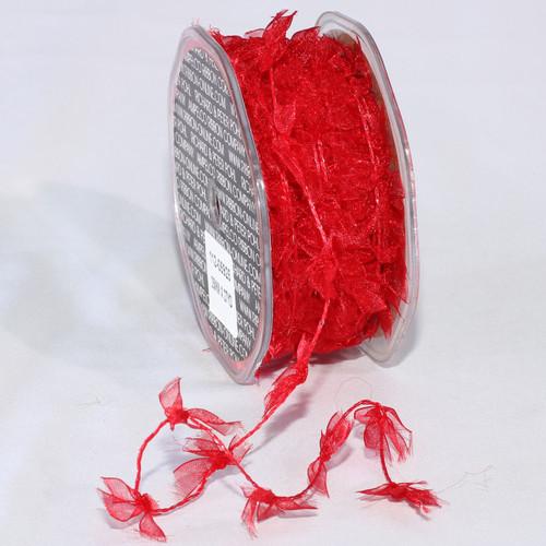"Sheer Red Christmas Wired Craft Ribbon Garland 1"" x 27 Yards - IMAGE 1"