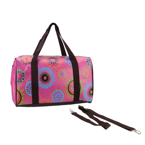 """16"""" Pink Floral Theme Travel Bag with Handles and Crossbody Strap - IMAGE 1"""