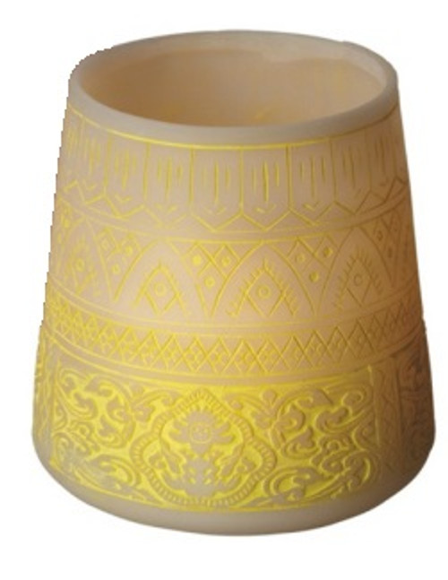 """5.5"""" Petit Bazaar Etched Moroccan Yellow Decorative Pillar Candle Holder - IMAGE 1"""
