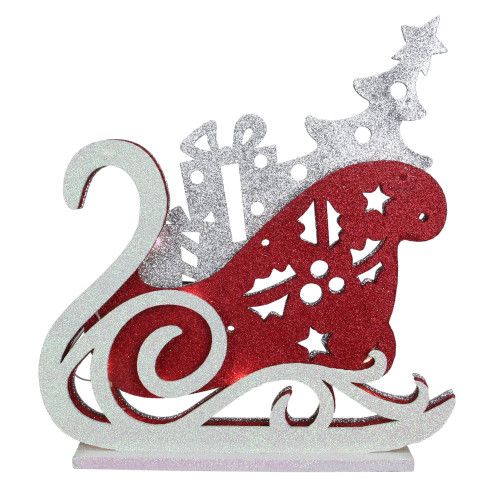 """13.25"""" Red and Silver LED Lighted Sleigh Silhouette Christmas Tabletop Decor - IMAGE 1"""