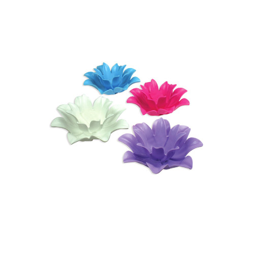 """Set of 4 Vibrantly Colored Floating Lotus Flower Tea Light Candle Holders 9.75"""" - IMAGE 1"""