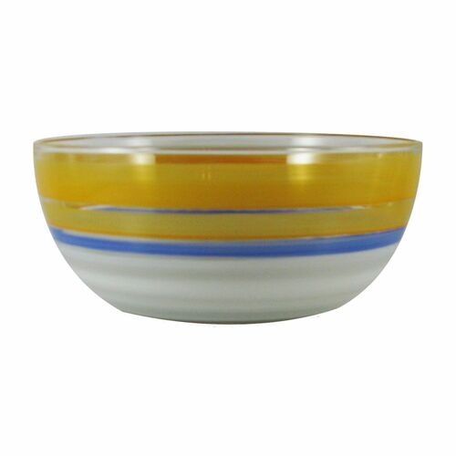 """11"""" Orange and White Contemporary Striped Glass Serving Bowl - IMAGE 1"""