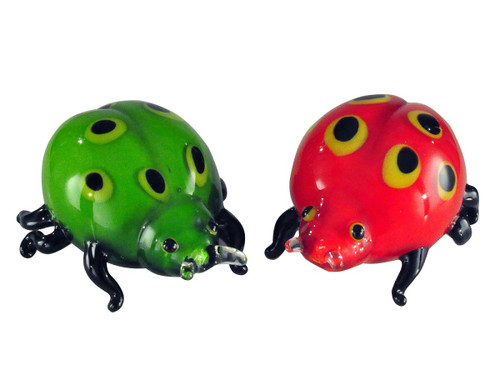 """Set of 2 Red and Green Lady Bug Hand Blown Figurines 6"""" - IMAGE 1"""