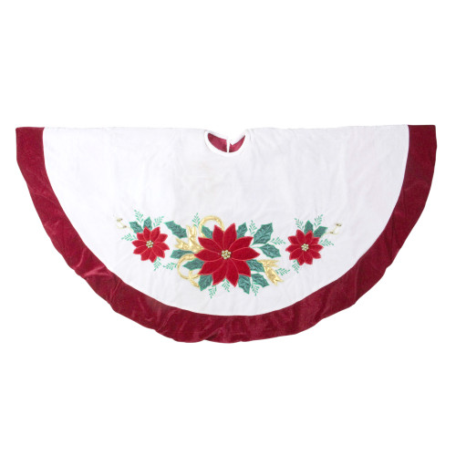 """48"""" Ivory and Red Poinsettia Christmas Tree Skirt with Beads - IMAGE 1"""