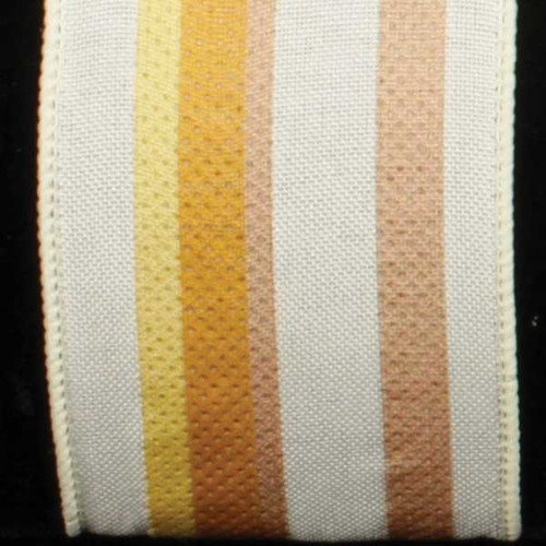 "White and Brown Wired Craft Ribbon with Stripes 2.5"" x 20 Yards - IMAGE 1"