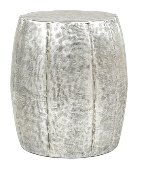 """22"""" Contemporary Silver Hammer Finished Aluminum Drum Accent Table - IMAGE 1"""