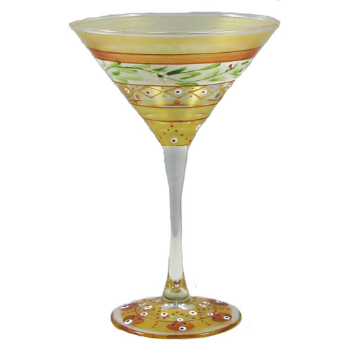 "Set of 2 Gold Garland Hand Painted Martini Drinking Glasses 7"" - IMAGE 1"