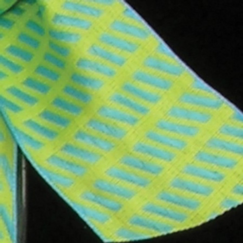 """Green and Blue Diagonal Striped Woven Taffeta Wired Craft Ribbon 1.5"""" x 54 Yards - IMAGE 1"""
