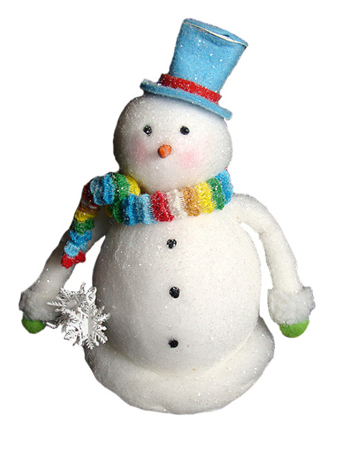 """9"""" White and Blue Snowman with Scarf Christmas Tabletop Figurine - IMAGE 1"""