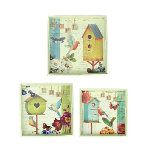 """Set of 3 Yellow and White Birdhouse in Garden Square Serving Trays 16"""" - IMAGE 1"""