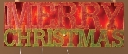 """33"""" Red and Brown Lighted Distressed Merry Christmas Outdoor Decoration Sign - IMAGE 1"""