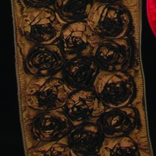 """Brown Contemporary Roses Wired Craft Ribbon 4"""" x 10 Yards - IMAGE 1"""