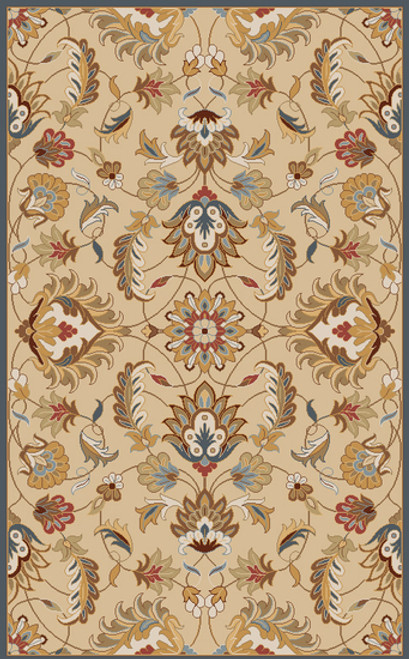 8' x 11' Flavian Caramel Brown and Tan White Hand Tufted Wool Area Throw Rug - IMAGE 1