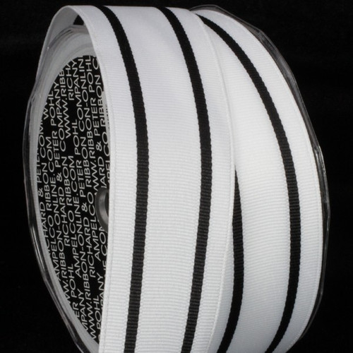 """Black and White Striped Wired Craft Ribbon 1.5"""" x 27 Yards - IMAGE 1"""