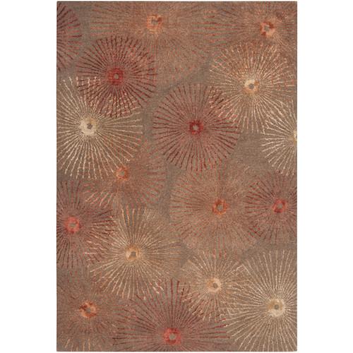 2' x 3' Belle Fleur Rust Red and Burnt Orange Wool Blend Area Throw Rug - IMAGE 1