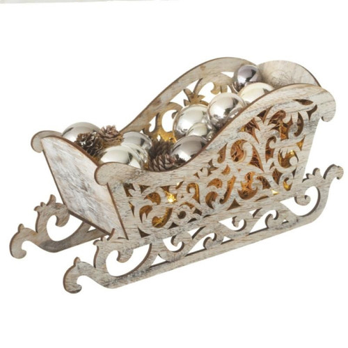 """15.5"""" Pre-Lit Brown and Silver LED Country Rustic Sleigh Christmas Tabletop Decor - IMAGE 1"""