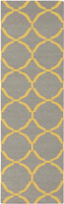 2.5' x 8' Geometric Yellow and Gray Hand Woven Rectangular Wool Area Throw Rug Runner - IMAGE 1