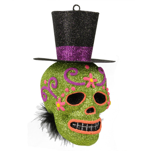 """6"""" Green and Black Day of the Dead Glitter Drenched Skull with Top Hat Halloween Ornament - IMAGE 1"""