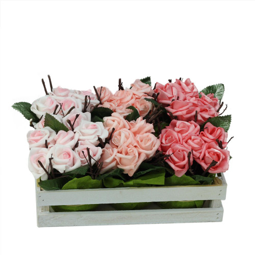 """Set of 6 Pink Tone Artificial Rose Plants in Crate Spring Tabletop Decor 9.5"""" - IMAGE 1"""